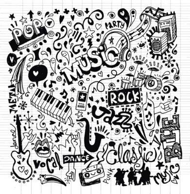 Poster Musica di sottofondo, Disegno a mano Doodle