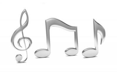 Poster musica nota 3D, su bianco