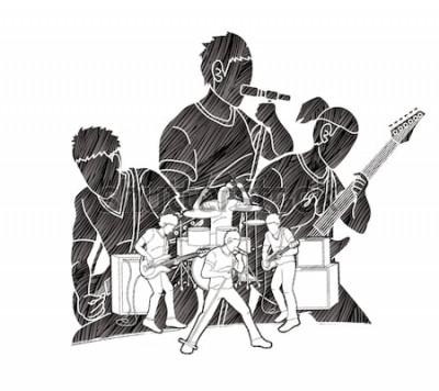 Poster Musicista che suona musica insieme, banda musicale, artista grafica vettoriale