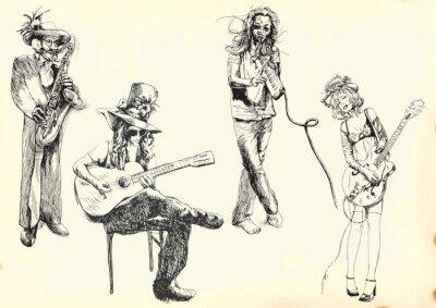 Poster musicisti - collezione di disegni a mano in vettoriale