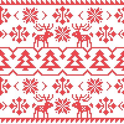 Poster Natale e Inverno a maglia seamless