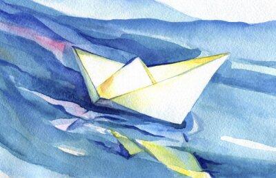 Poster nave salpi Libro bianco sulle onde. Pittura ad acquerello della nave e acqua di mare.