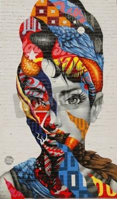 Poster NEW YORK - 26 Febbraio 2015: Bruxelles Audrey di Mulberry da Tristan Eaton nella Piccola Italia.