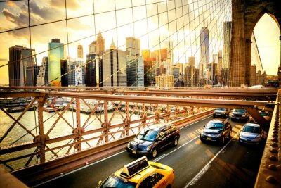Poster New York, Ponte di Brooklyn orizzonte