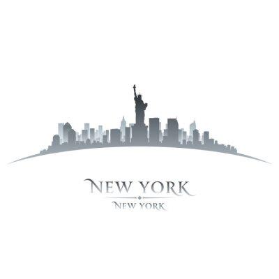 Poster New York skyline della città silhouette sfondo bianco