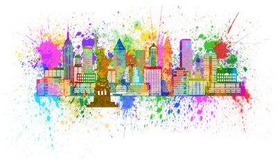 Poster New York Skyline Paint Splatter Illustration