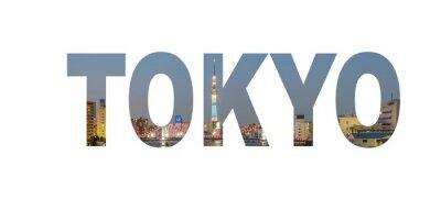 Poster Nome Tokyo City segno con la foto in background. Isolato su sfondo bianco ..