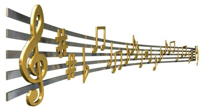 Poster Note Gold Music On Righe ondulate