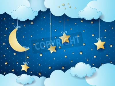 Poster notte Surreale, fantasia nuvola paesaggio. illustrazione di vettore