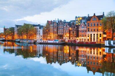 Poster Notte vista città di Amsterdam, Paesi Bassi