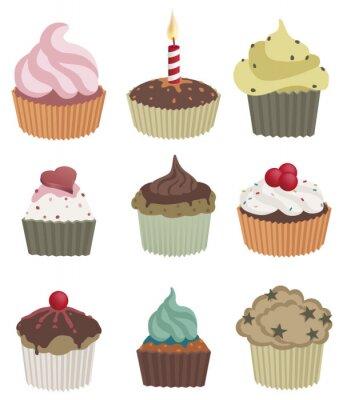 Poster Nove cupcakes. illustrazione vettoriale di nove deliziosi cupcakes.