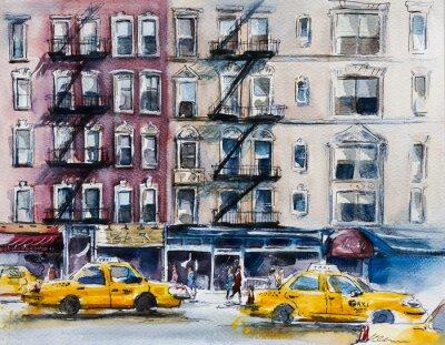 Poster Occupato strada di New York. Abbozzo