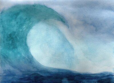 Poster Ocean onda in acquerello