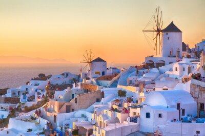 Poster Oia tramonto, isola di Santorini, in Grecia