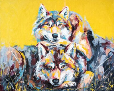 Poster Oil wolf portrait painting in multicolored tones. Conceptual abstract painting of a couple wolves. Closeup of a painting by oil and palette knife on canvas.
