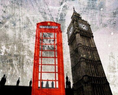 Poster Old London Composizione Telefonzelle und Big Ben