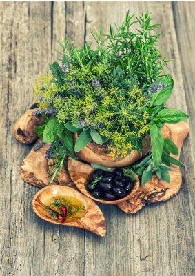 Poster Olive, olio, erbe e spezie. Stile vintage tonica