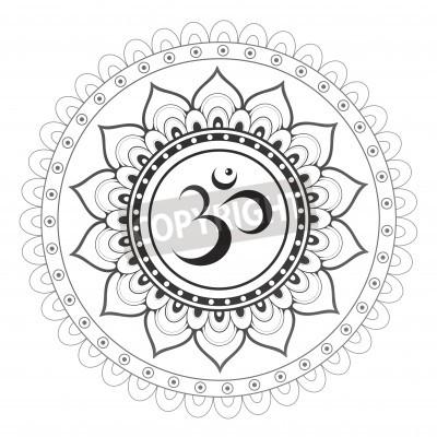 Poster Om, simbolo sanscrito Aum con mandala ornamento