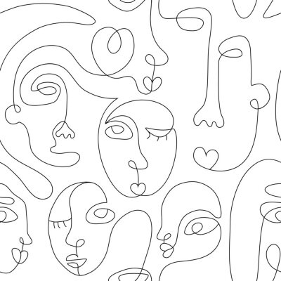 Poster One line drawing abstract face seamless pattern. Modern minimalism art, aesthetic contour. Continuous line background with woman and man faces. Vector group of people