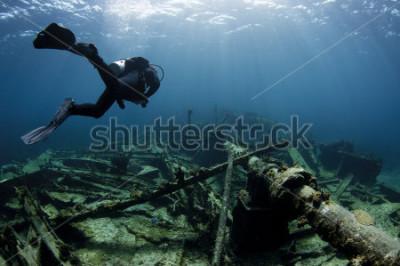 Poster Operatore subacqueo di scuba che nuota sopra un naufragio della nave