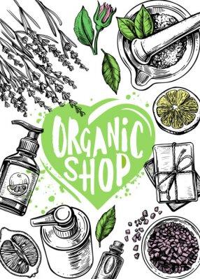 Poster organic store cosmetics