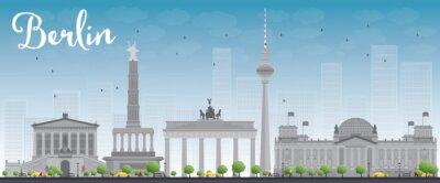 Poster Orizzonte di Berlino con edificio grigio e blu cielo.