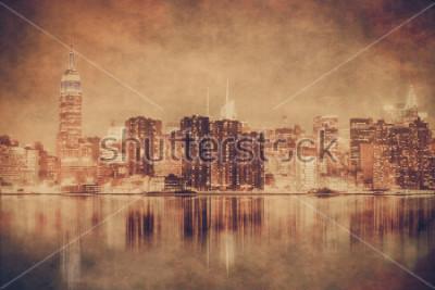 Poster Orizzonte di Manhattan di stile vintage New York City con struttura del grunge