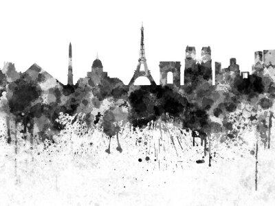 Poster Orizzonte di Parigi in acquerello nero