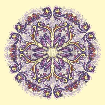 Poster Ornamental round floral lace pattern  kaleidoscopic floral pattern, mandala