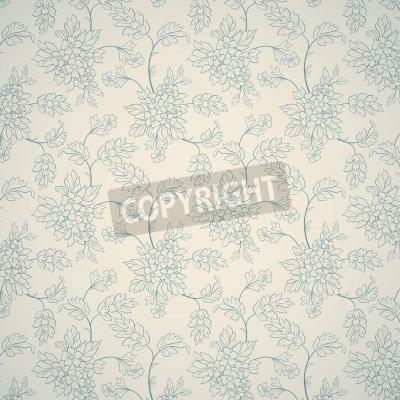 Poster Ornamento floreale blu su sfondo chiaro
