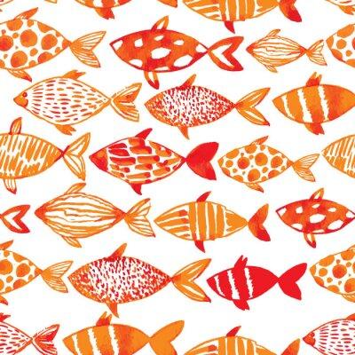 Poster oro pesci acquerello luce. Senza soluzione di continuità piastrelle modello di pesce. ve