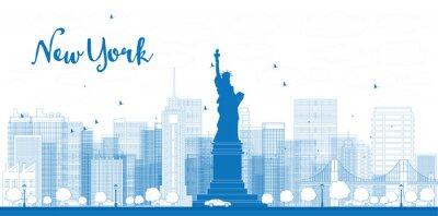 Poster Outline New York skyline della città con grattacieli