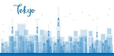 Poster Outline Tokyo City Grattacieli in colore blu.