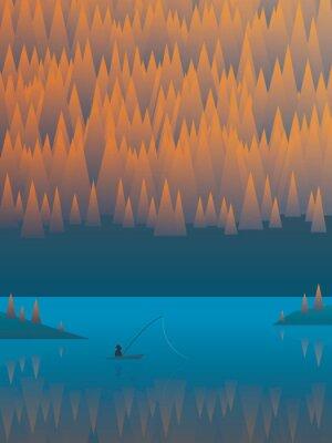 Poster Paesaggio autunnale vettoriale con alberi di fogliame e un lago. Pescatore di pesca dalla sua barca