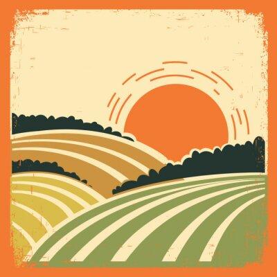Poster paesaggio con campi di vecchio poster