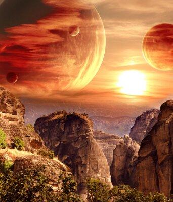 Poster Paesaggio fantastico con il pianeta, montagne, tramonto