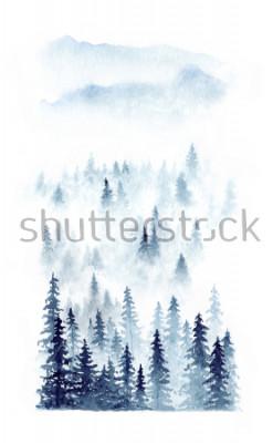 Poster Paesaggio invernale ad acquerello di una foresta nella nebbia. Abeti rossi isolati su priorità bassa bianca