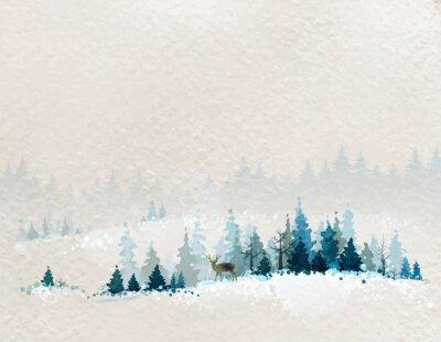 Poster paesaggio invernale con foreste di abeti e cervi