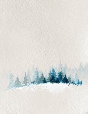 Poster paesaggio invernale con la foresta di abeti e cervi