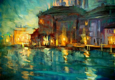 Poster paesaggio notturno a Venezia, dipinto di olio su compensato, illustrat