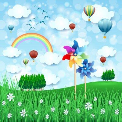 Poster Paesaggio primaverile con girandole e mongolfiere