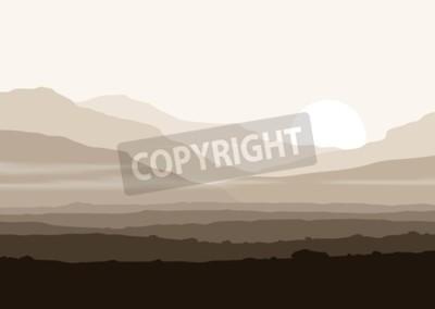 Poster paesaggio senza vita con enormi montagne sopra sole. Vector panorama eps10.