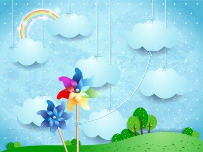 Poster paesaggio surreale con girandole e nuvole sospese