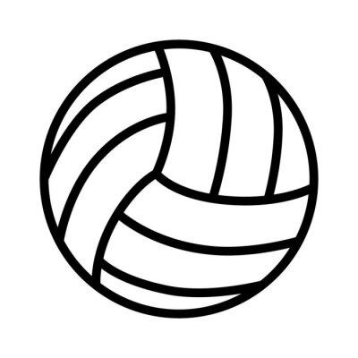 Poster palla Pallavolo icona linea arte per le applicazioni sportive e siti web