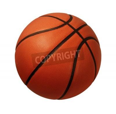 Poster Pallacanestro isolato su uno sfondo bianco come un sport e fitness simbolo di un'attività squadra liesure giocare con un dribbling pallone di cuoio e passando nei tornei concorrenza