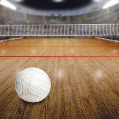 Poster Pallavolo con la sfera sul pavimento di legno e spazio di copia