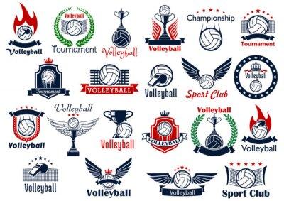 Poster Pallavolo Sport icons gioco e simboli