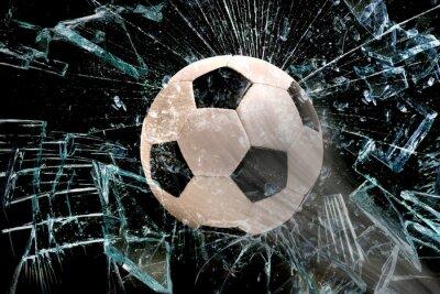 Poster Pallone da calcio attraverso il vetro.