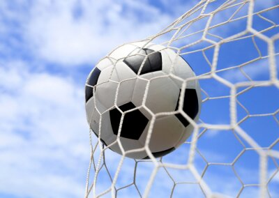 Poster pallone da calcio in rete sul cielo blu