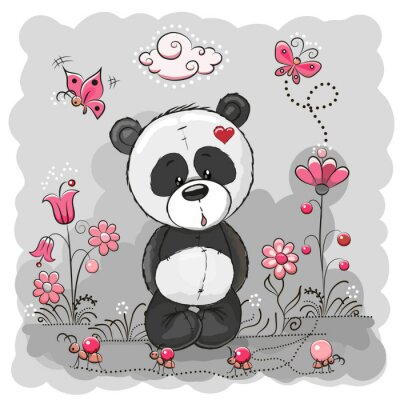 Poster Panda con fiori